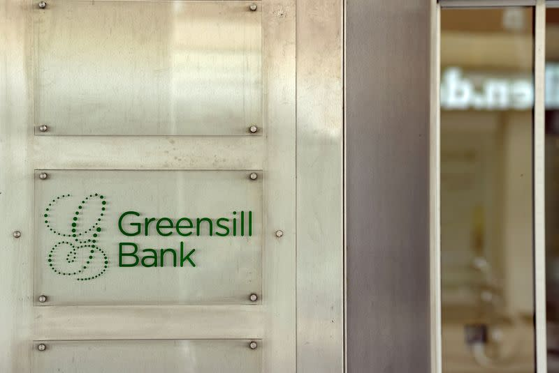 FILE PHOTO: Logo of Greensill Bank is pictured in downtown Bremen