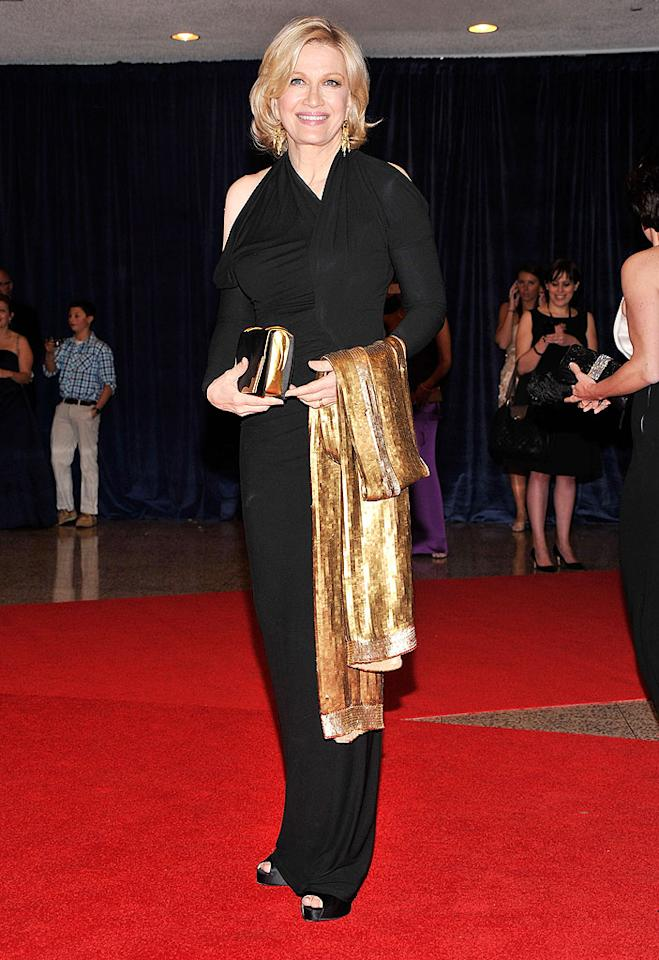 "Journalist and ""ABC World News"" anchor Diane Sawyer looked quite chic in her cold-shouldered jersey knit dress and matching black peep-toes. Her gorgeous golden accessories included earrings, a handbag, and a wrap."
