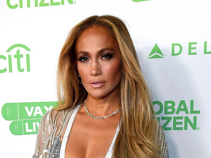Jennifer Lopez attends Global Citizen VAX LIVE: The Concert To Reunite The World at SoFi Stadium in Inglewood, California.