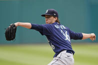 Seattle Mariners starting pitcher Logan Gilbert delivers in the first inning of a baseball game against the Cleveland Indians, Sunday, June 13, 2021, in Cleveland. (AP Photo/Tony Dejak)