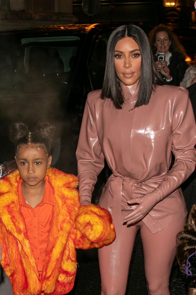 PARIS, FRANCE - MARCH 01: Kim Kardashian West and daughter North West arrive at FERDI restaurant on March 01, 2020 in Paris, France. (Photo by Marc Piasecki/GC Images)