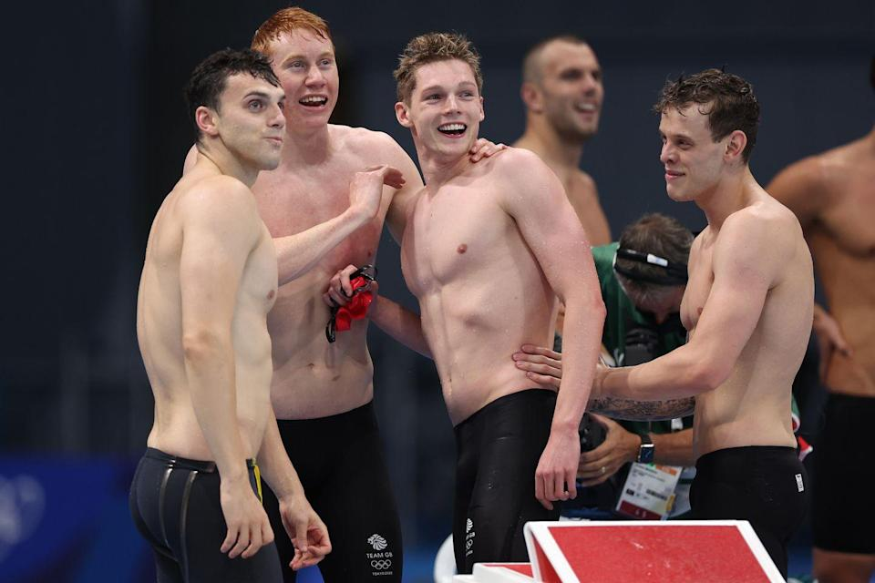 <p>After his euphoric individual win, Tom Dean secured his second Olympic gold medal in the men's 4x200m relay win. The team beat Russia and Australia to top the podium, comfortably outperforming the rest of the pool. The race marks the first time since the Sydney Olympic Games in 2000 that a team has beaten the USA in the event. </p>
