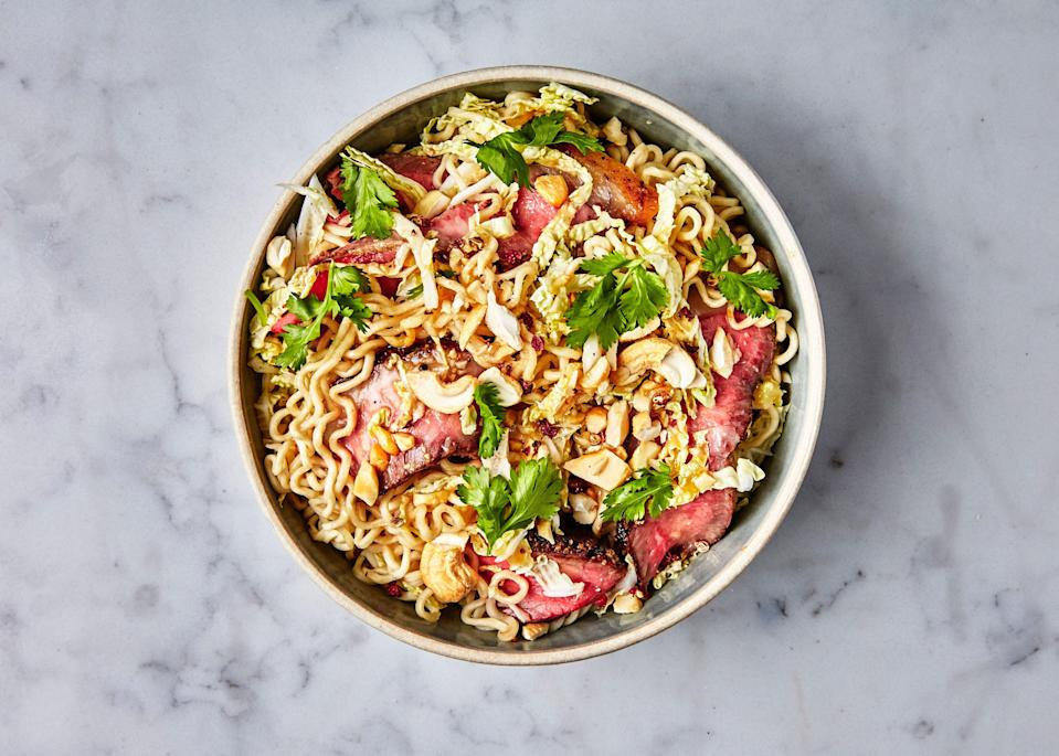 "This colorful cold noodle salad is infinitely riffable. Check out <a href=""http://www.bonappetit.com/recipe/rice-noodles-with-shrimp-and-coconut-lime-dressing?mbid=synd_yahoo_rss"" rel=""nofollow noopener"" target=""_blank"" data-ylk=""slk:Rice Noodles with Shrimp and Coconut-Lime Dressing"" class=""link rapid-noclick-resp"">Rice Noodles with Shrimp and Coconut-Lime Dressing</a>, <a href=""http://www.bonappetit.com/recipe/udon-with-chicken-and-garlicky-peanut-dressing?mbid=synd_yahoo_rss"" rel=""nofollow noopener"" target=""_blank"" data-ylk=""slk:Udon with Chicken and Garlicky Peanut Dressing"" class=""link rapid-noclick-resp"">Udon with Chicken and Garlicky Peanut Dressing</a>, and <a href=""http://www.bonappetit.com/recipe/soba-with-tofu-and-miso-mustard-dressing?mbid=synd_yahoo_rss"" rel=""nofollow noopener"" target=""_blank"" data-ylk=""slk:Soba with Tofu and Miso-Mustard Dressing"" class=""link rapid-noclick-resp"">Soba with Tofu and Miso-Mustard Dressing</a> for even more ideas. <a href=""https://www.bonappetit.com/recipe/ramen-with-steak-and-sesame-ginger-dressing?mbid=synd_yahoo_rss"" rel=""nofollow noopener"" target=""_blank"" data-ylk=""slk:See recipe."" class=""link rapid-noclick-resp"">See recipe.</a>"