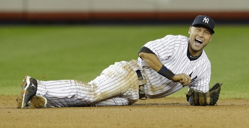 FILE - In this Oct. 14, 2012 file photo, New York Yankees shortstop Derek Jeter reacts after injuring himself in the 12th inning of Game 1 of the American League championship series against the Detroit Tigers in New York. Yankees captain Derek Jeter has left the team's minor league complex in Florida where he was rehabbing his injured ankle and gone for a medical exam. (AP Photo/Paul Sancya, File)