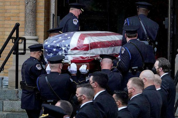PHOTO: Pallbearers from the U.S. Capitol Police carry the casket of William 'Billy' Evans into St. Stanislaus Kostka Church before a funeral Mass, April 15, 2021, in Adams, Mass. (Steven Senne/AP)