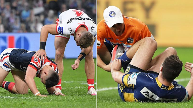 Pictured here, Roosters lock Victor Radley and Eels halfback Mitchell Moses being attended to after suffering bad injuries.
