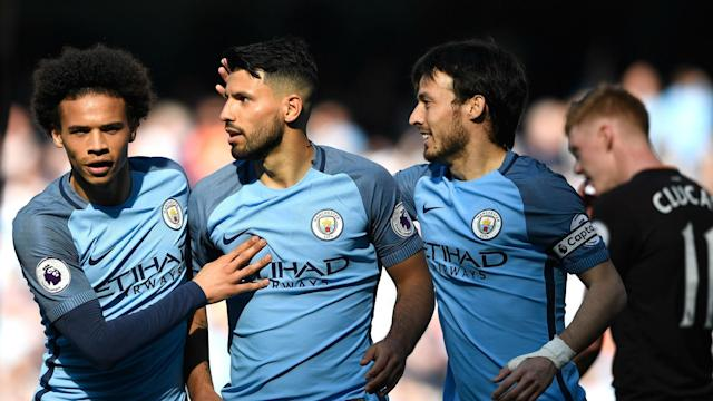 Pep Guardiola is delighted to see Sergio Aguero getting more accustomed to his philosophy at Manchester City.