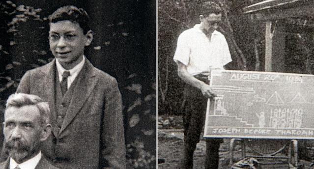 Bob Weighton as a teenager and as a teacher in 1934 (PA)