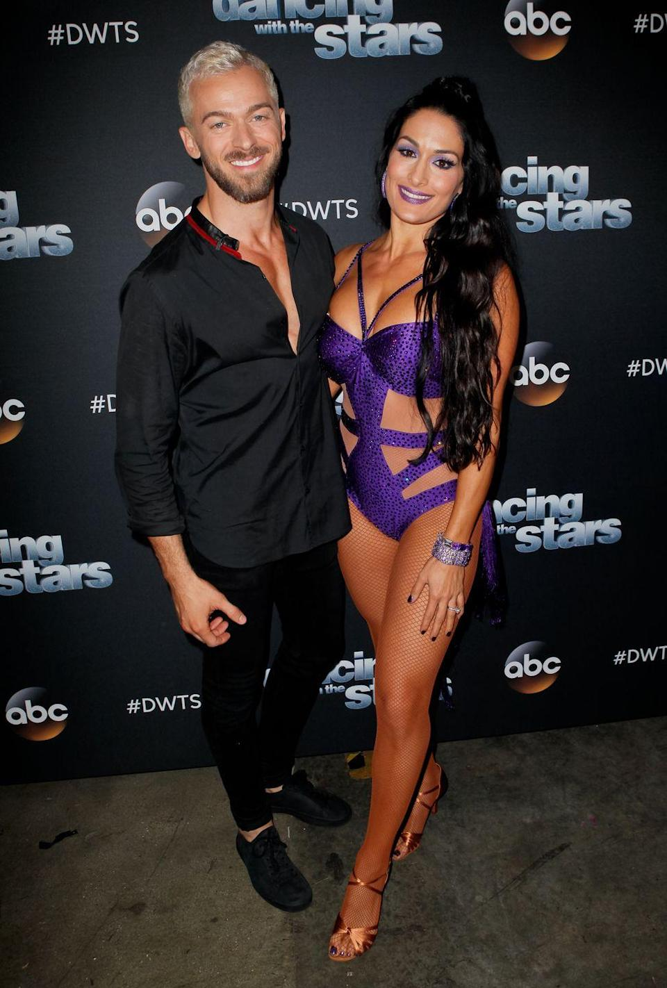 """<p>It isn't every day that a dancer/contestant relationship from <em>Dancing With The Stars</em> works out. Nikki Bella and pro dancer Artem Chigvintsev first met as partners on season 25, when the <em>Total Bellas</em> star was engaged to John Cena. After the show and Nikki's breakup, the pair reunited in 2018, this time romantically. Artem popped the question in November 2019 and <a href=""""https://www.instagram.com/p/CDZoxn7lGa3/?"""" rel=""""nofollow noopener"""" target=""""_blank"""" data-ylk=""""slk:the couple welcomed their son"""" class=""""link rapid-noclick-resp"""">the couple welcomed their son</a>, Matteo, on July 31, 2020.</p>"""