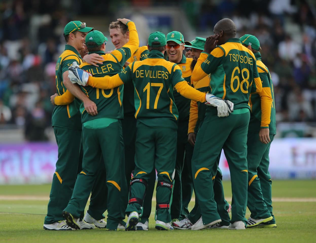 South Africa's bowler Chris Morris celebrates taking the wicket of Pakistan batsman Muhammad Hafeez during the ICC Champions Trophy match at Edgbaston, Birmingham.