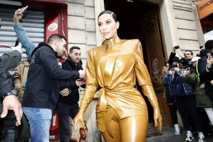 Kim Kardashian is photographed in Paris, France, in March 2020