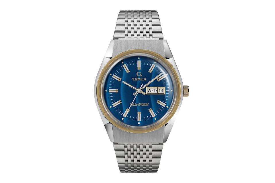"""$179, Todd Snyder. <a href=""""https://www.toddsnyder.com/collections/watches/products/timex-falcon-eye-q-blue"""" rel=""""nofollow noopener"""" target=""""_blank"""" data-ylk=""""slk:Get it now!"""" class=""""link rapid-noclick-resp"""">Get it now!</a>"""