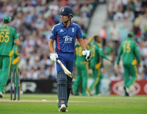 England's Alastair Cook (C) leaves the pitch after being bowled out by South Africa's Robin Peterson during their third ODI on August 31. He believes the team's best limited overs days are ahead of them even though they are now again the world's top-ranked side in 50-over international cricket