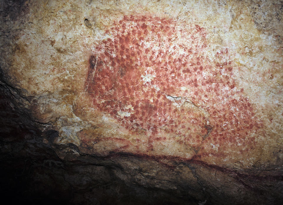 This photo provided by researcher Carole Fritz in February 2021 a prehistoric wall painting depicting a bison, in a French cave discovered in 1931. Using modern microscopy techniques to examine how a conch shell found at the site was modified and hiring a French horn player to test it out, they found the shell could produce C, C sharp and D notes. By carbon dating other related artifacts in the cave, researchers estimate the age to be around 18,000 years, making the modified conch the world's oldest seashell instrument known. (Carole Fritz via AP)