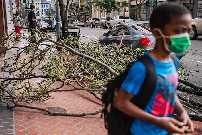 Some of the damage Hurricane Ida brought through Louisiana on Aug. 30. (Brandon Bell / Getty Images)