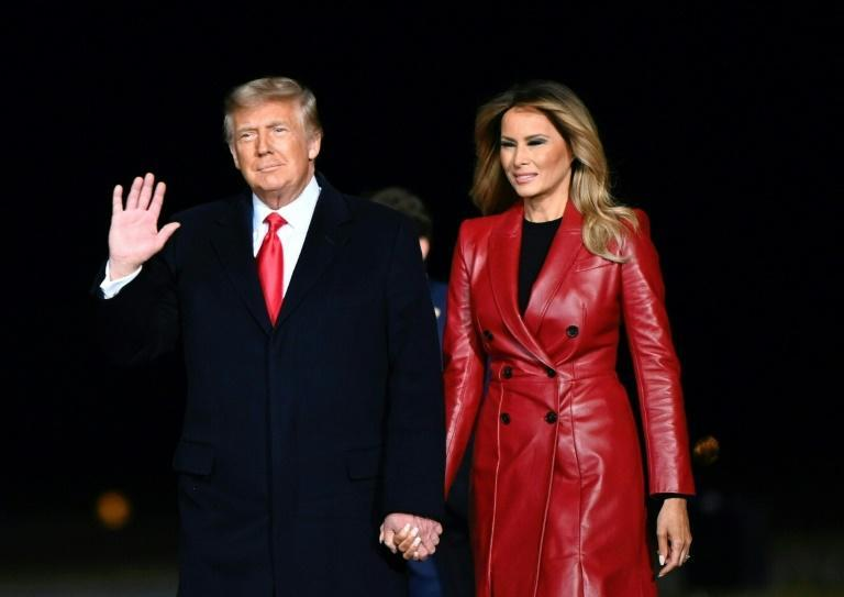 US President Donald Trump and First Lady Melania Trump arrive at Valdosta Regional Airport on December 5, 2020 in Valdosta, Georgia