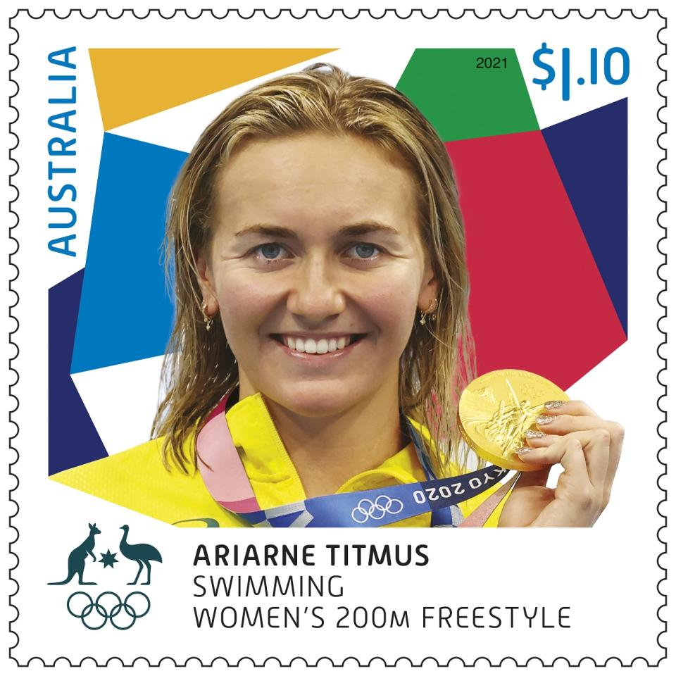 Ariarne Titmus holding an Olympic gold medal. Source: Australia Post