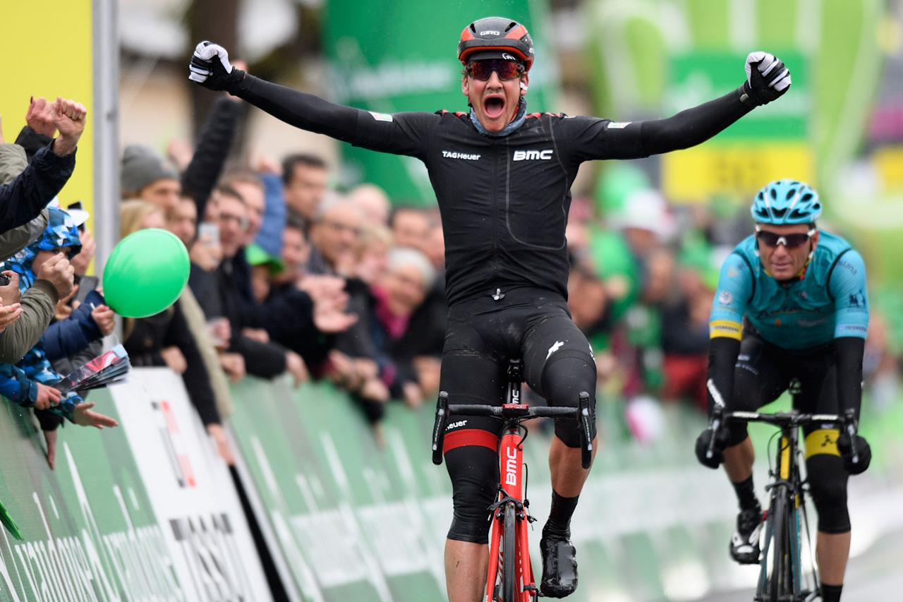 <p>Swiss Stefan Kueng of team BMC Racing celebrates winning the second stage of the 71st Tour de Romandie UCI ProTour cycling race, over 136.5 km between Champery and Bulle, Switzerland on April 27, 2017. (Laurent Gillieron/EPA) </p>