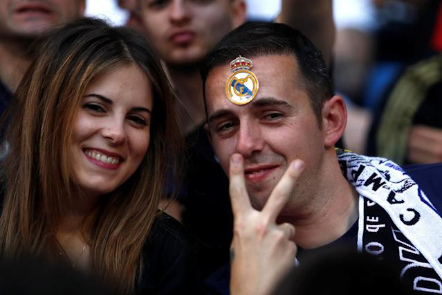 Soccer Football - Real Madrid fans watch the Champions League Final - Madrid, Spain - May 26, 2018 Real Madrid fans inside the Santiago Bernabeu REUTERS/Javier Barbancho