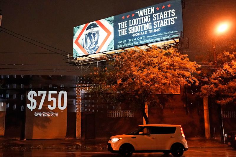 Billboards have been erected in Cleveland. Ohio, featuring Donald Trump's controversial past remarks (AP)