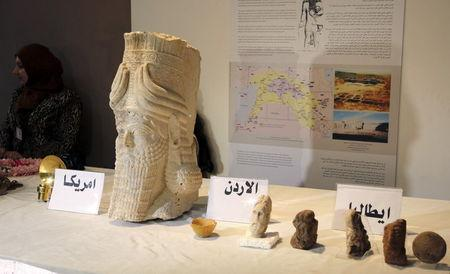Recovered artefacts are seen at the National Museum of Iraq in Baghdad