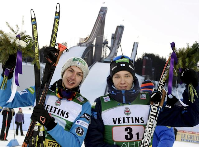 Ilkka Herola and Eero Hirvonen of Finland placed third are seen after the cross-country skiing of the men's Nordic Combined Team Sprint of the FIS World Cup in Lahti, Finland March 3, 2018. LEHTIKUVA/Roni Rekomaa via REUTERS ATTENTION EDITORS - THIS IMAGE WAS PROVIDED BY A THIRD PARTY. NO THIRD PARTY SALES. NOT FOR USE BY REUTERS THIRD PARTY DISTRIBUTORS. FINLAND OUT. NO COMMERCIAL OR EDITORIAL SALES IN FINLAND.