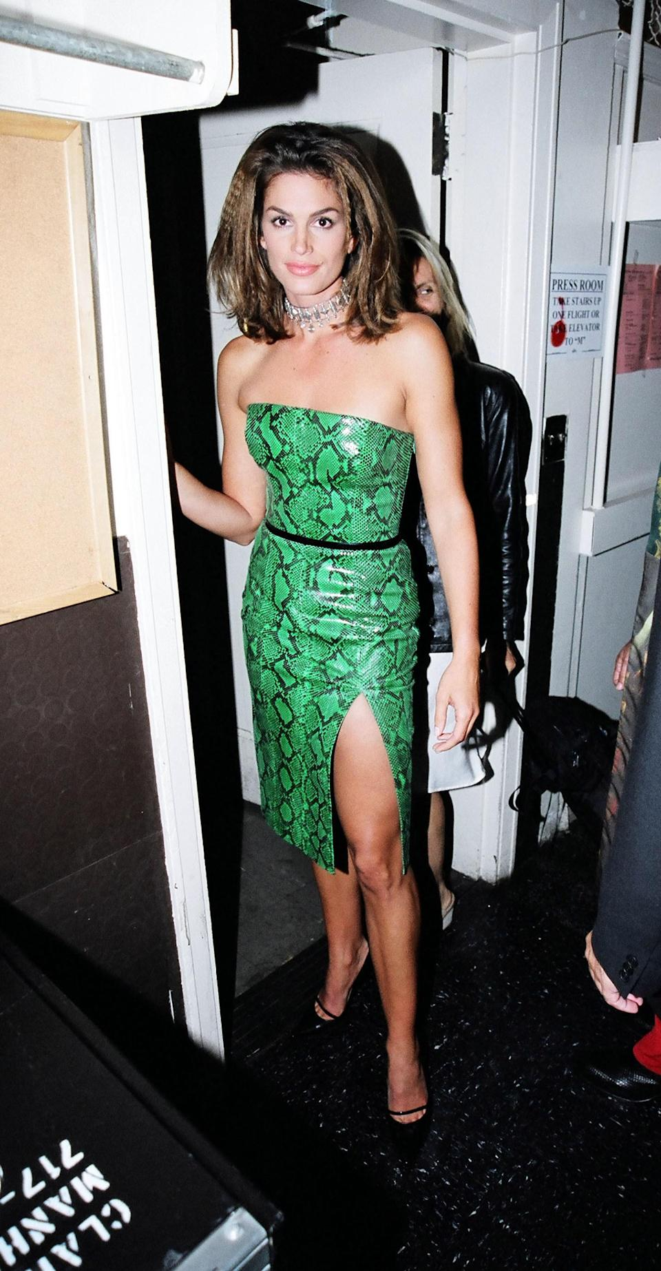 Kaia Gerber clearly gets it from her mama. The green python and thigh-high slit were a clear demonstration of Cindy Crawford's trendsetting, supermodel status.