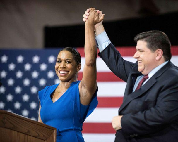 PHOTO: Rep. Juliana Stratton joins Democratic candidate J.B. Pritzker as his running mate seeking the office of governor of Illinois during a press conference in Chicago, Aug. 10, 2017. (Max Herman/AP, FILE)