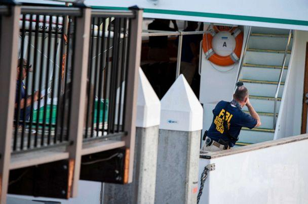 PHOTO: FBI investigators climb aboard the Vision, a sister vessel to the scuba boat Conception, to document its layout and learn more about the deadly pre-dawn fire in Santa Barbara, Calif., Sept. 3, 2019. (Christian Monterrosa/AP)