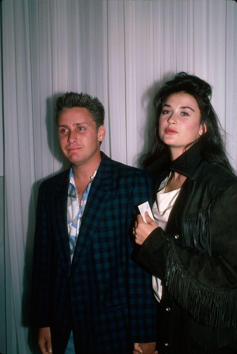 """<p>Demi and <em>The Breakfast Club </em><span class=""""redactor-invisible-space"""">actor met on the set of <em>Wisdom </em><span class=""""redactor-invisible-space"""">in 1984, getting engaged a year later before <a href=""""http://www.huffingtonpost.com/2011/11/17/demi-moores-past-relation_n_1100328.html?slideshow=true#gallery/197721/1"""" rel=""""nofollow noopener"""" target=""""_blank"""" data-ylk=""""slk:parting ways"""" class=""""link rapid-noclick-resp"""">parting ways</a> in 1987.</span></span></p>"""