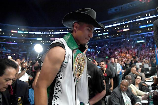 Mikey Garcia enters the ring for his lightweight title fight against Robert Easter, Jr at Staples Center on July 28, 2018 in Los Angeles. (Getty Images)