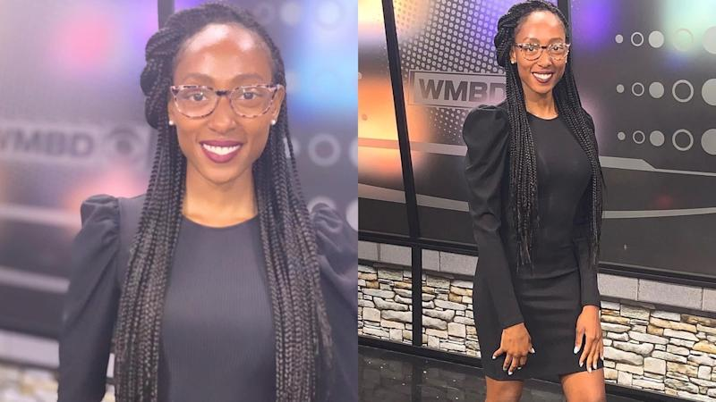 Treasure Roberts, a news anchor from Illinois, has gone viral after celebrating her first day wearing braids on-air. Images via Twitter/Treasure Roberts.