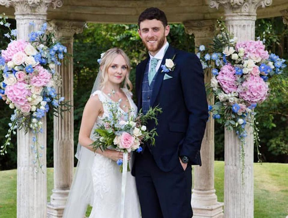 Thames Valley Police officer PC Andrew Harper and his wife, Lissie, celebrating their wedding four weeks ago at Ardington House in Oxfordshire. (PA)