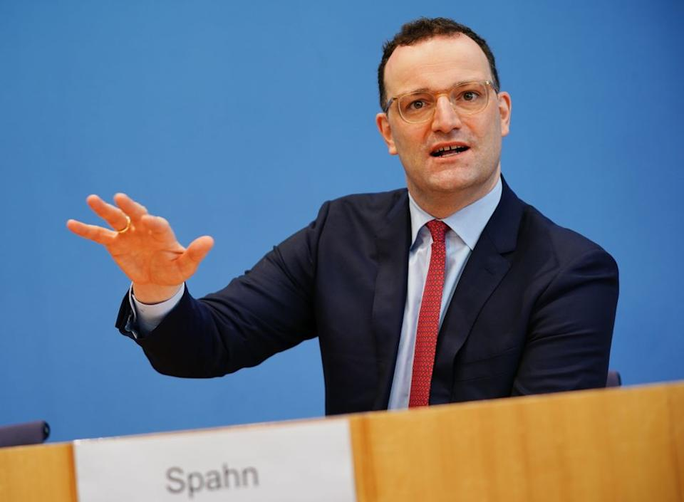 05 March 2021, Berlin: Jens Spahn (CDU), Federal Minister of Health, speaks and gestures at a press conference on Corona vaccinations. Photo: Michael Kappeler/dpa (Photo by Michael Kappeler/picture alliance via Getty Images)