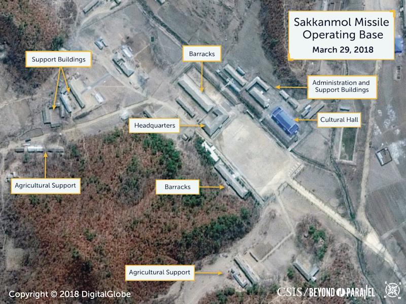 A Digital Globe satellite image shows what CSIS reports to be an undeclared missile operating base at Sakkanmol, North Korea: REUTERS