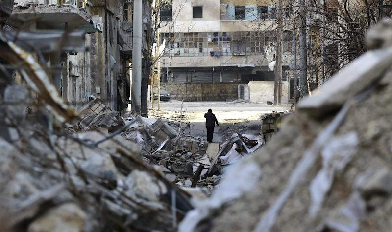 Aleppo's formerly rebel-held al-Shaar neighborhood is seen January 21, 2017, as Syria's conflict has killed more than 310,000 people and displaced millions since it started in 2011