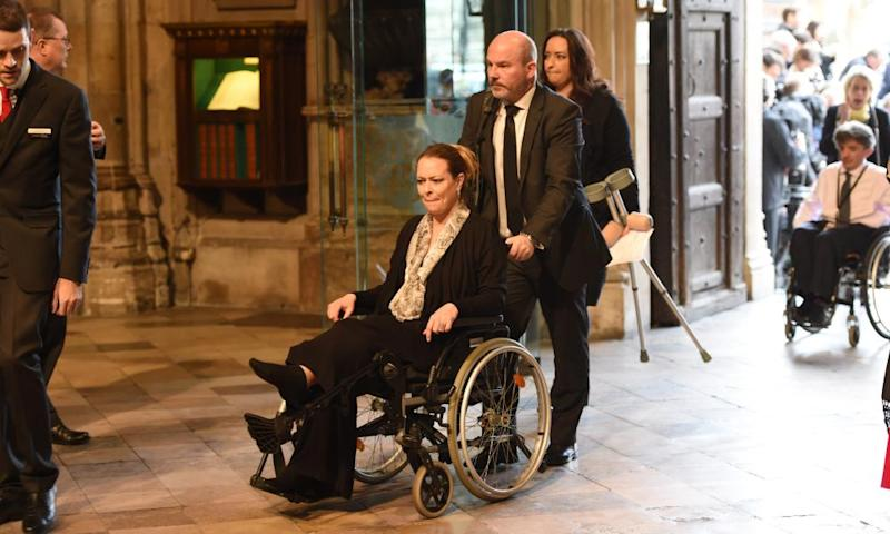 Melissa Cochran, wife of Kurt Cochran, one of those killed in the attack, attends the service at Westminster Abbey.