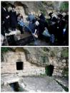 """A combination picture shows Ultra-Orthodox Jews taking part in the """"Mayim Shelanu"""" ceremony on April 18, 2019 and at the same spot on April 8, 2020, as Israel takes stringent steps to contain the coronavirus"""