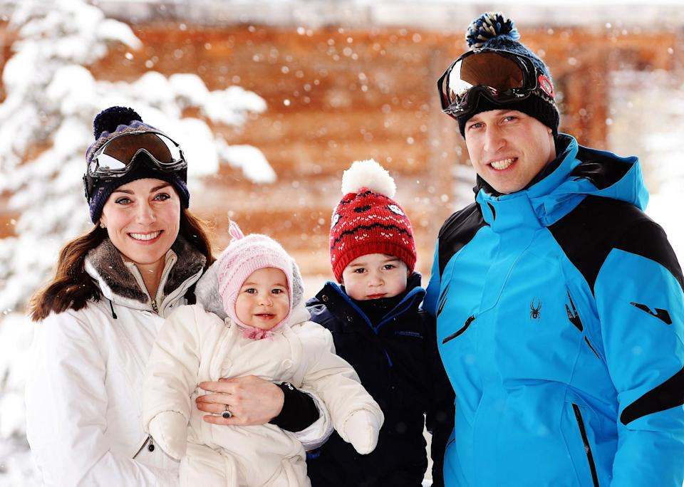 <p>Charlotte enjoys her first family holiday with the royals taking a skiing trip to the French Alps.<br><i>[Photo: PA]</i> </p>