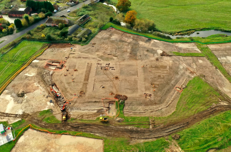 The ornamental garden was completely unknown of until excavators recently uncovered the 300 metre foundations. (SWNS)