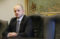 FILE - This Aug. 10, 2016, file photo, Evan McMullin speaks during an interview in Salt Lake City. McMullin, a former independent presidential candidate, is launching a new campaign to challenge Republican Sen. Mike Lee in Utah. McMullin, a former CIA agent and congressional aide, announced his third-party candidacy Tuesday, Oct. 5, 2021, in the conservative state where he made inroads with voters uncomfortable with then-candidate Donald Trump in 2016. (Weston Kenney/The Deseret News via AP, File)