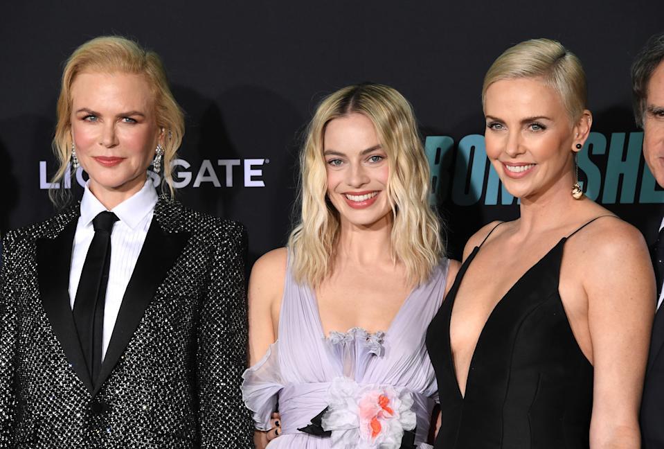 "WESTWOOD, CALIFORNIA - DECEMBER 10: Nicole Kidman, Margot Robbie and Charlize Theron arrives at the Special Screening Of Liongate's ""Bombshell"" at Regency Village Theatre on December 10, 2019 in Westwood, California. (Photo by Steve Granitz/WireImage)"