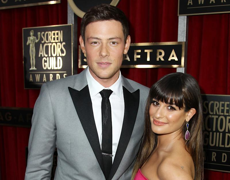 """FILE - In this Jan. 27, 2013 file photo, Cory Monteith, left, and Lea Michele arrive at the 19th Annual Screen Actors Guild Awards at the Shrine Auditorium in Los Angeles. Lea Michele is breaking her silence online after her """"Glee"""" co-star and real-life boyfriend Cory Monteith died of an overdose earlier this month. The actress posted a photo of her and Monteith on Twitter Monday along with a message thanking her followers for """"helping me through this time with your enormous love & support."""" Monteith was found dead in Vancouver, British Columbia, on July 13. An autopsy revealed the 31-year-old actor died of an overdose of heroin and alcohol. He and Michele played an on-again/off-again couple in the popular Fox series and were an off-screen couple for about a year. (Photo by Matt Sayles/Invision/AP, File)"""