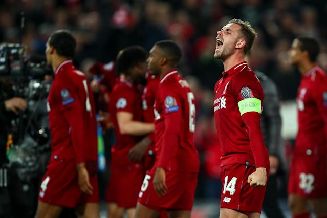 Jordan Henderson of Liverpool celebrates at full time during the UEFA Champions League Semi Final second leg match between Liverpool and Barcelona at Anfield on May 7, 2019 in Liverpool, England. (Photo by Robbie Jay Barratt - AMA/Getty Images)
