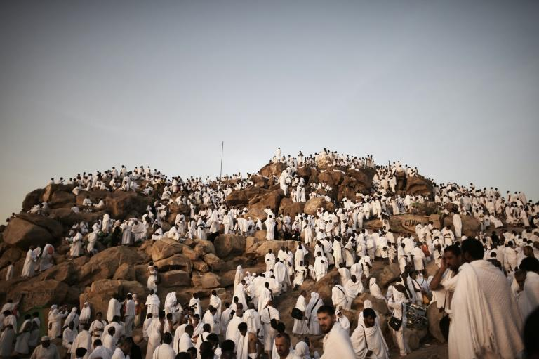 Muslim pilgrims gather on Mount Arafat near Mecca as they perform one of the Hajj rituals on October 3, 2014
