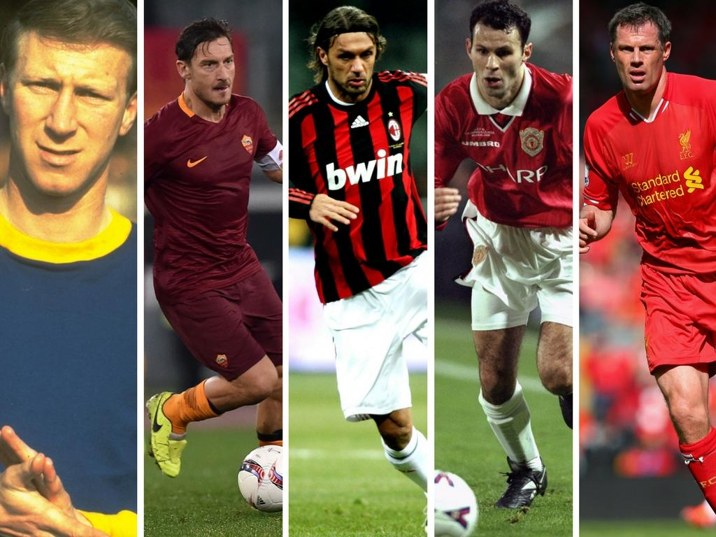 <p>Charlton, Totti, Maldini, Giggs and Carragher – where do they feature inthe all-time top 20?</p>