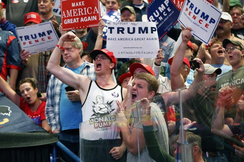 Trump supporters cheer during a rally on Monday in Wilkes-Barre, Pa. (Photo: Evan Vucci/AP)