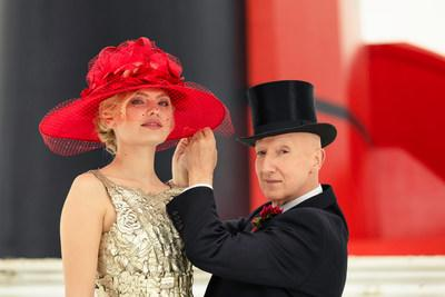 Hat designed by Stephen Jones OBE and worn by a model from STORM Model Agency on Queen Mary 2