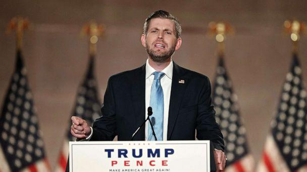 PHOTO: Eric Trump delivers a pre-recorded speech at the Andrew W. Mellon Auditorium in Washington, Aug. 25, 2020, on the second day of the Republican National Convention. (Olivier Douliery/AFP via Getty Images)