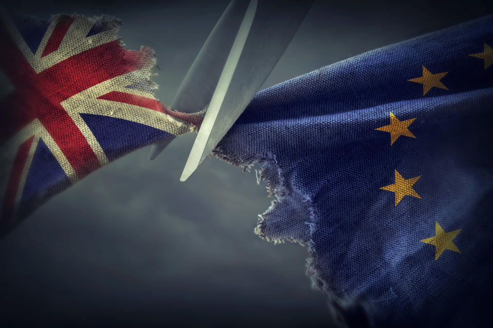Flags of the United Kingdom and the European Union.Brexit concept. Photo: Getty